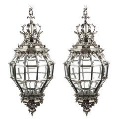 Pair of Versailles Huge Silver Bronze Diamond Baluster Lanterns