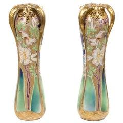 Pair of Amphora Art Nouveau Period Vases