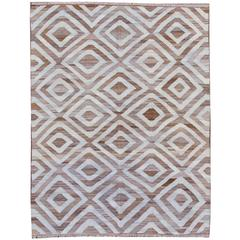 21st Century Contemporary Beige, Blue Pakistani Kilim-Style Rug