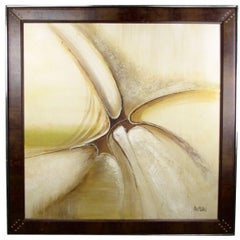 Mid-Century Modern Acrylic Painting with Faux Leather Frame, Signed Macmillan