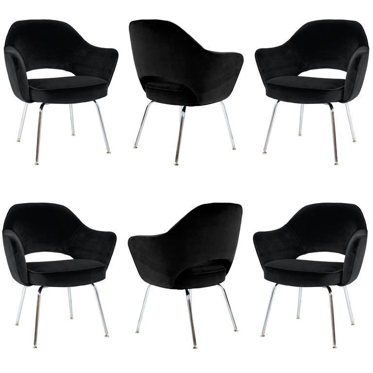 Saarinen Executive Arm Chairs in Noir Velvet, Set of Six