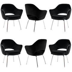 Saarinen Executive Arm Chairs in Black Velvet, Set of Six