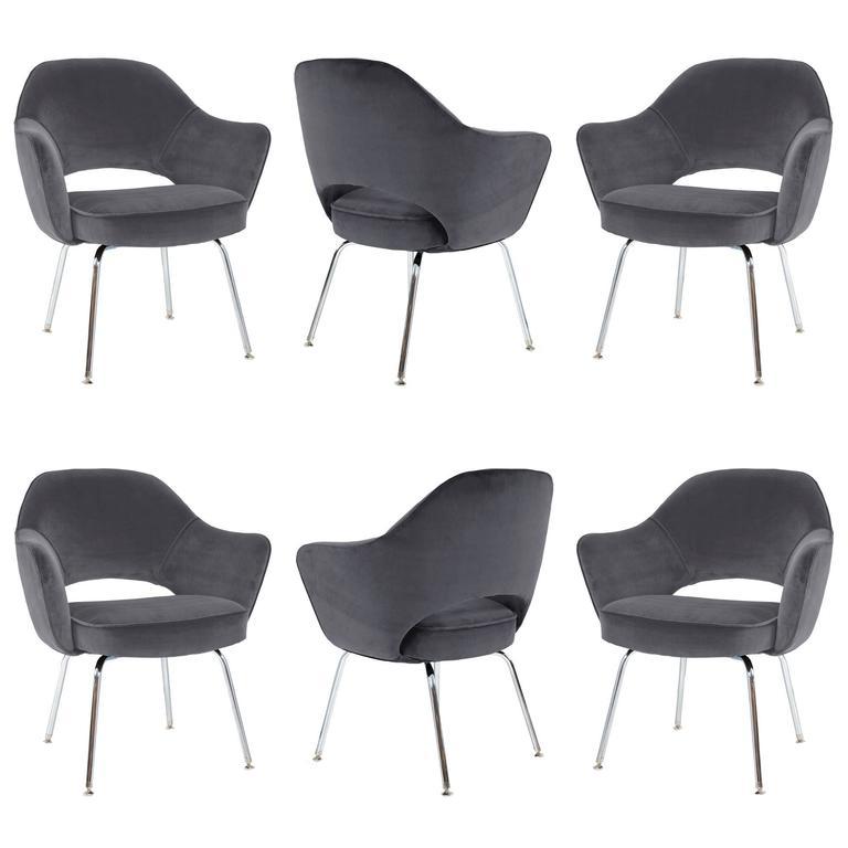 Saarinen Executive Arm Chairs in Gunmetal Velvet, Set of Six