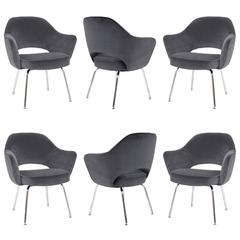 Saarinen for Knoll Executive Arm Chairs in Gunmetal Grey Velvet, Set of Six