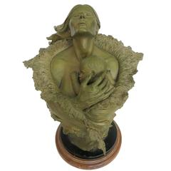 Rare Mother and Child Sculpture Bust by Joe Slockbower for Mill Creek Studios