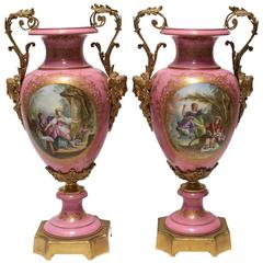 19th Century Palatial Pair of Ormolu-Mounted Sevres Urns