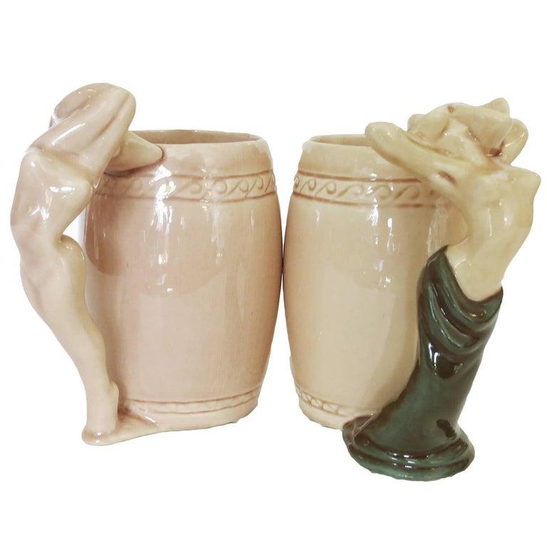 "Dorothy Kindell ""Naughty Potter"" Female Nude Mug, Pair For Sale"