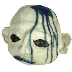 Large Ceramic Alien Head in Blue Tones