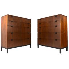 Pair of Tall Walnut Dressers by Kipp Stewart for Directional