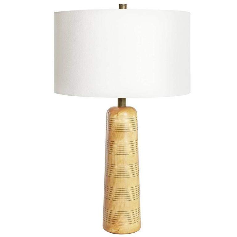 Delhi III, Turned Maple and Olive Green-Dyed Ash Table Lamp