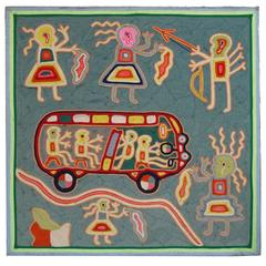 Vintage Mexican Yarn Painting from the Huichol Indians