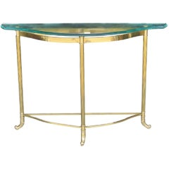 Brass Demilune Glass Top Console Table Attributed to Mastercraft