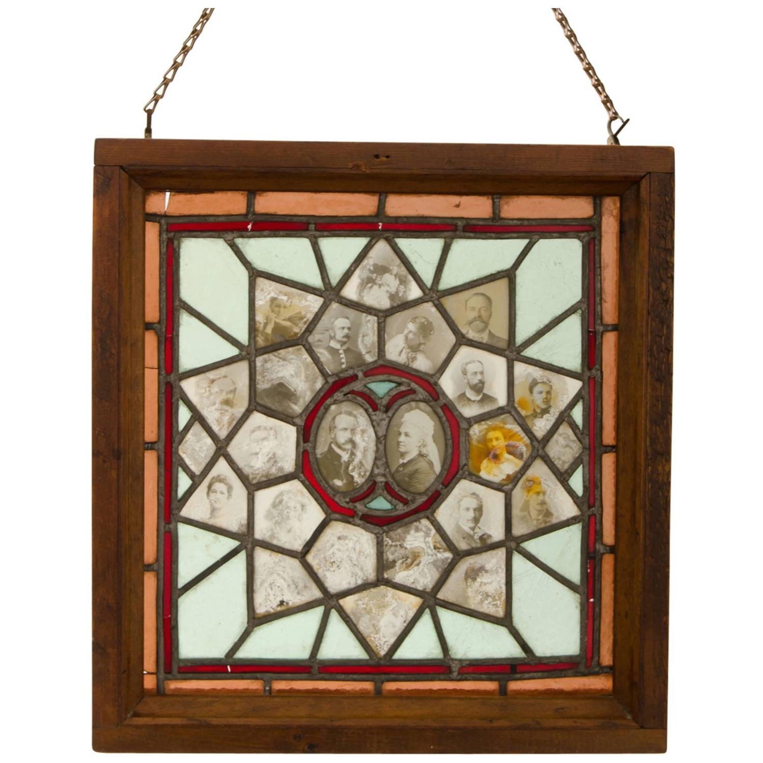 Incredible Stained Glass Window With Ambrotype Family Tree
