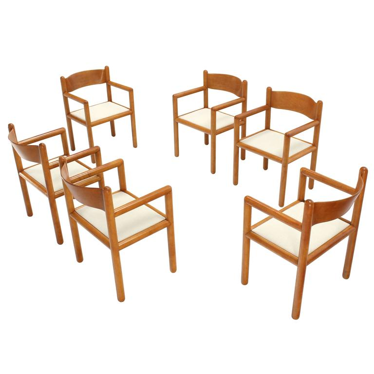 Set of Six Mid Century Modern Chairs with Sculpted Plywood Back For Sale