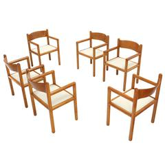 Set of Six Mid Century Modern Chairs with Sculpted Plywood Back