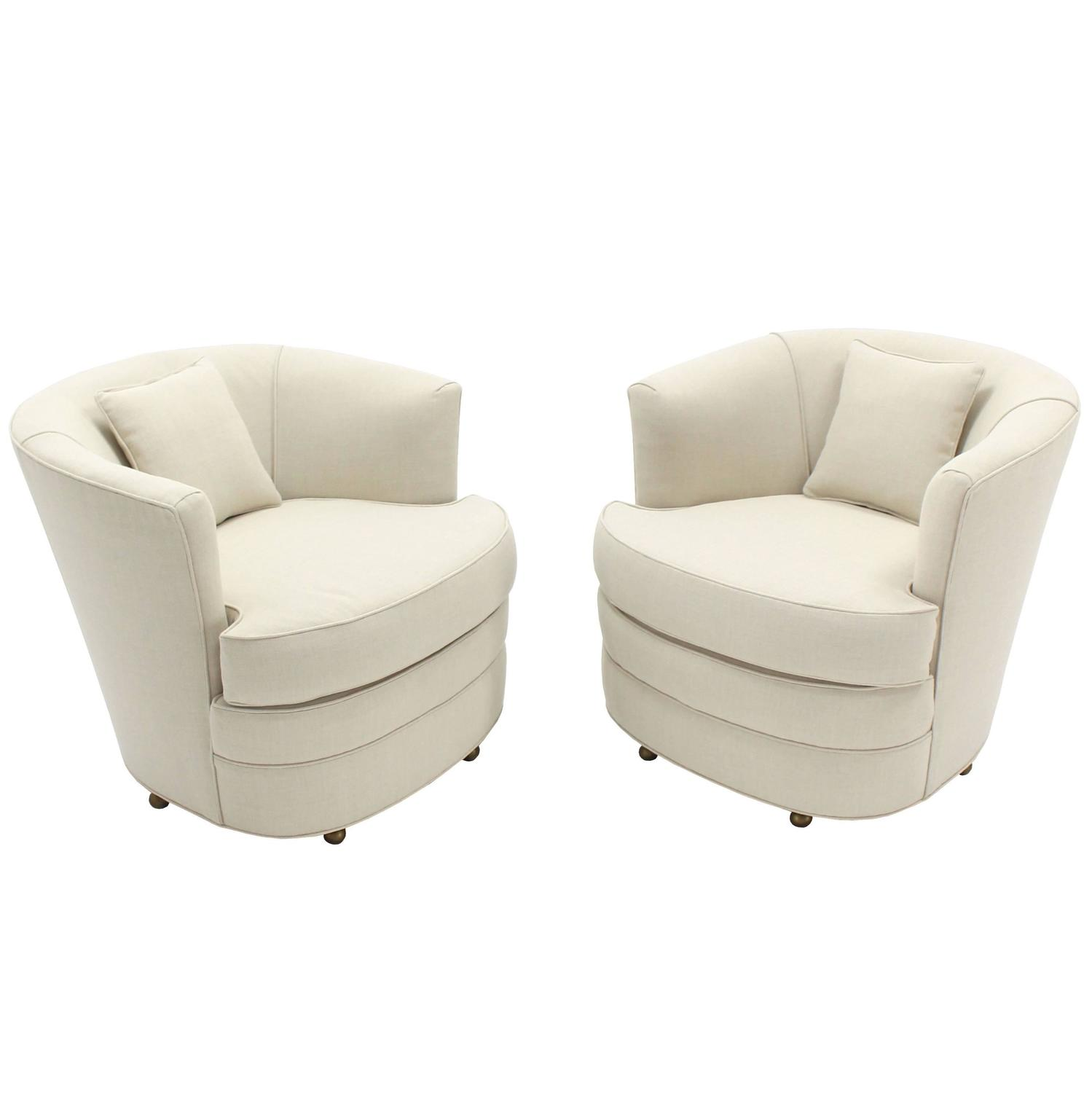 Pair Of Swivel Barrel Back Chairs New Upholstery For Sale