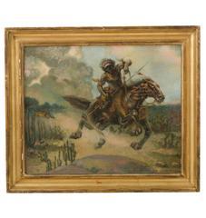 Large Original Oil Painting Hunter on Horseback, circa 1885