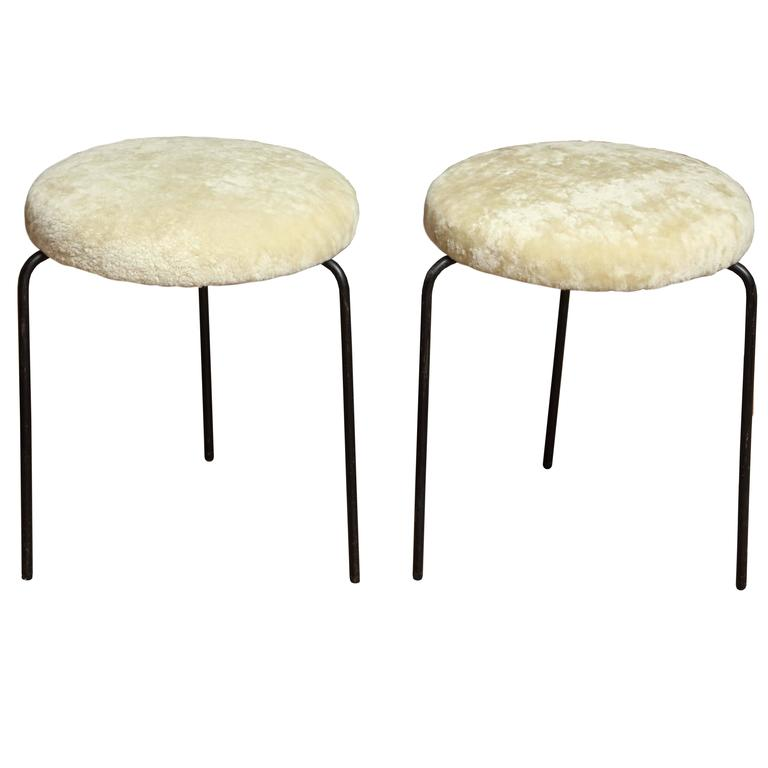 Pair Of Iron Stools With Shearling At 1stdibs