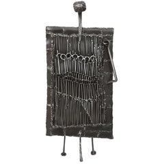 Mid-Century Iron Brutalist Sculpture by J. Duval Brasseur