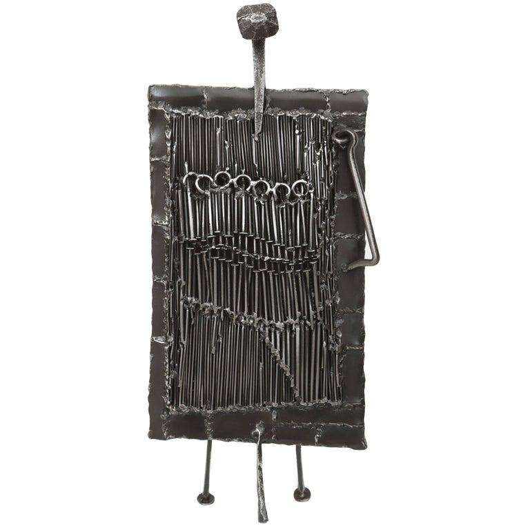 Mid-Century Iron Brutalist Sculpture by J. Duval Brasseur For Sale