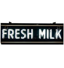 Double-Sided Neon Fresh Milk Sign, circa 1940s