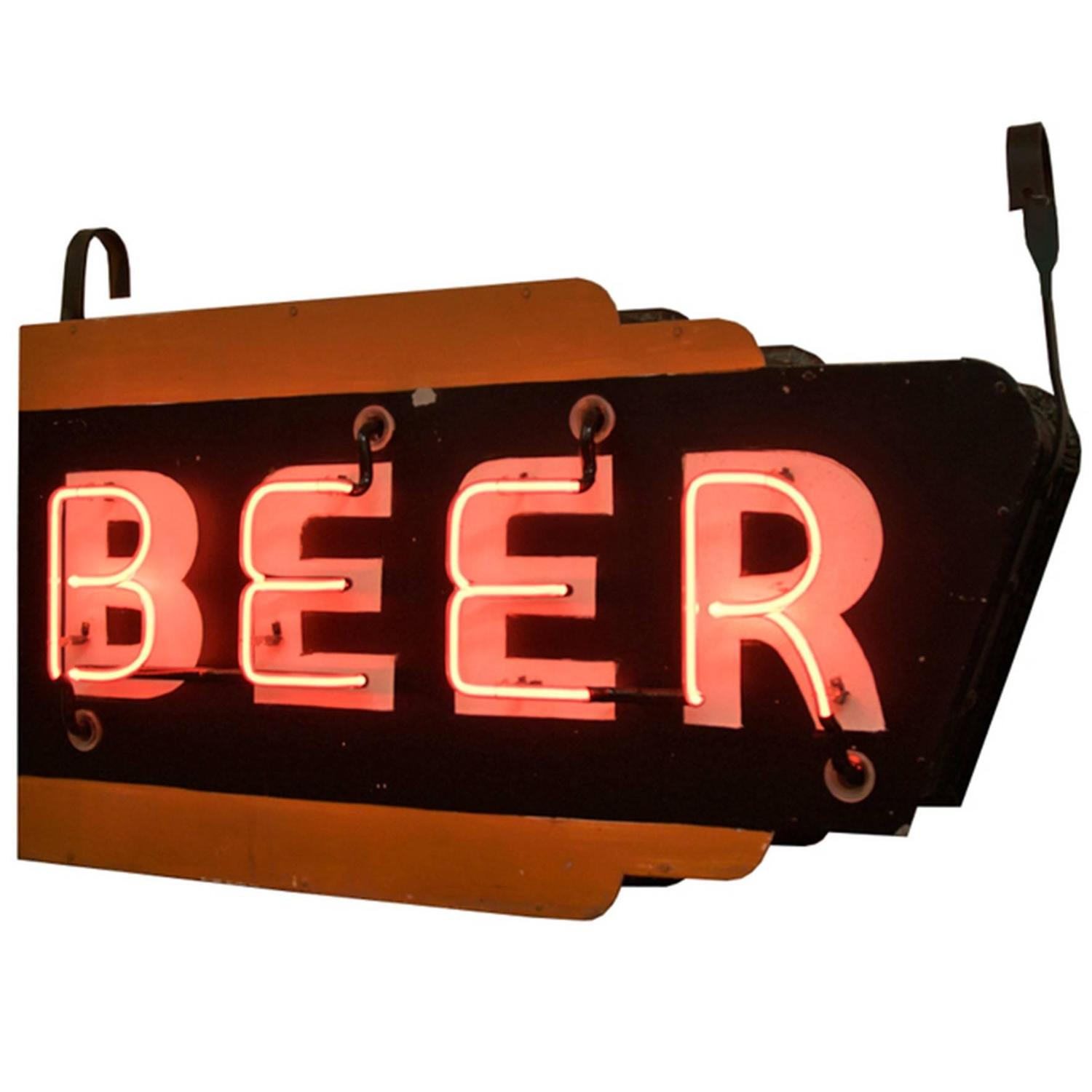 neon beer sign signs double sided orange circa 1940s advertising open antique furniture 1stdibs closed jewelry magazine