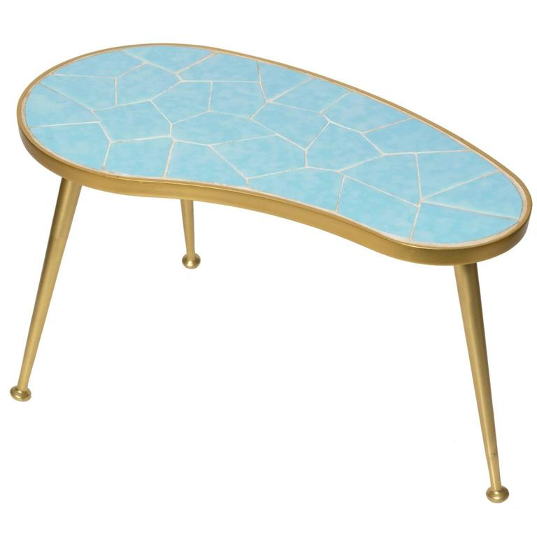 Superieur Small Kidney Shaped Tiled Occasional Table With Three Legs For Sale