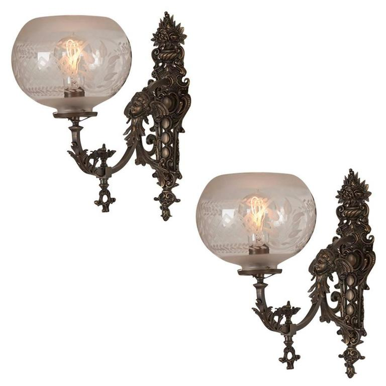 Highly Ornate Victorian Wall Sconce Pair Circa 1885 At