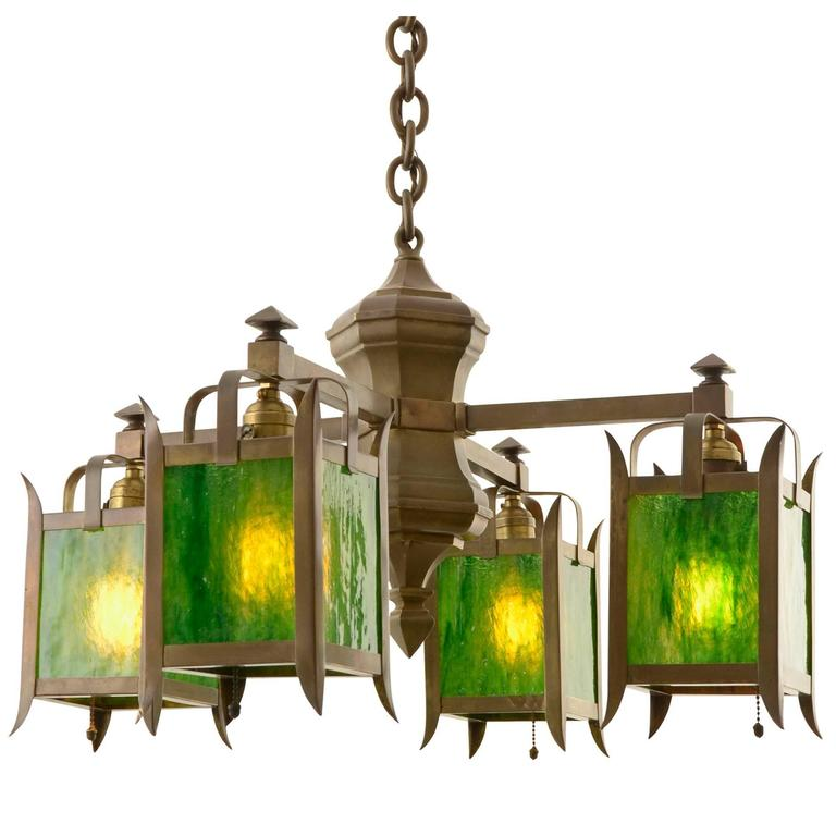 Unusual Arts And Crafts Chandelier With Green Art Glass