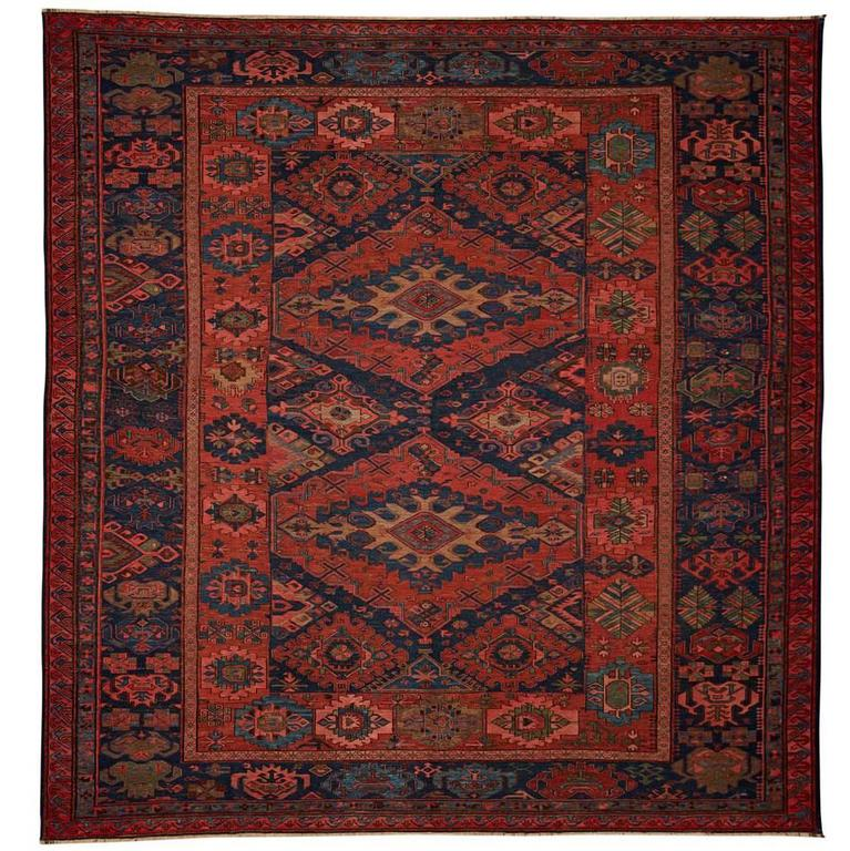 Antique Large Rug: Vintage Large Flat-Woven Sumak Rug, Circa 1890 At 1stdibs