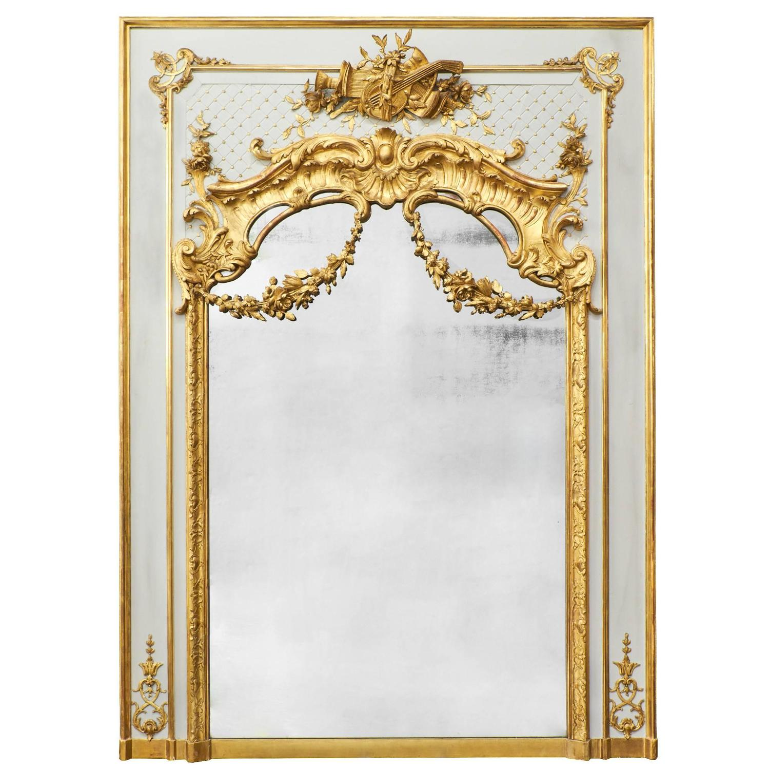 antique gold mirror french Antique French, Louis XVI Gold Leaf Trumeau For Sale at 1stdibs antique gold mirror french