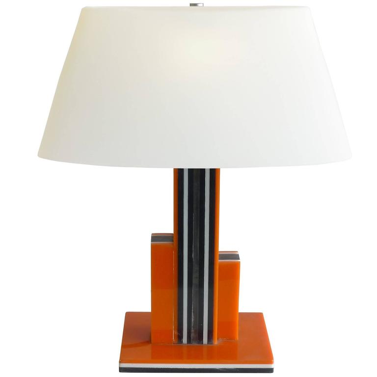 1940s Art Deco Black And Orange Lucite Table Lamps With White Glass Shade For