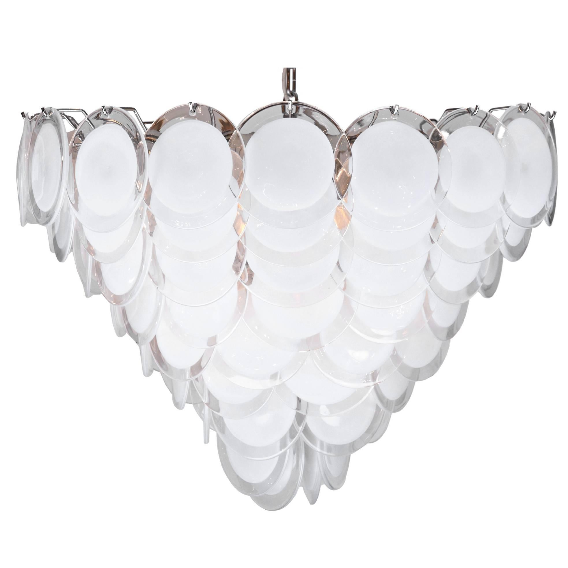 Murano White and Clear Glass Discs Chandelier by Carlo Nason