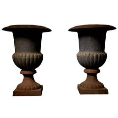 Pair of Characterful Aged Blue Black Garden Urns, Early 20th Century