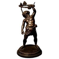 Grand Tour Bronze of Drunken Silenus Wrestling a Serpent, 19th Century