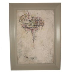 Contemporary Modern Abstract Acrylic on Carton Framed Painting