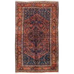 Vintage 1900 Red, /Blue Persian Bidjar Rug