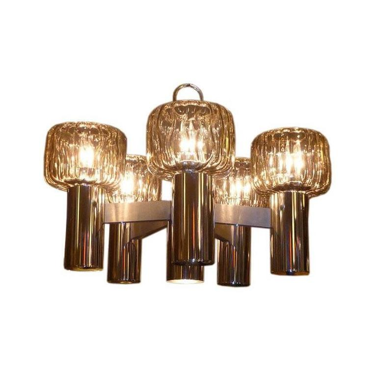 Exciting Five Globe Nickel Lightolier Chandelier For Sale