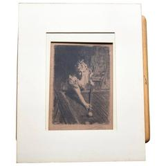 Bookplate Sketch Signed by Artist Anders Zorn