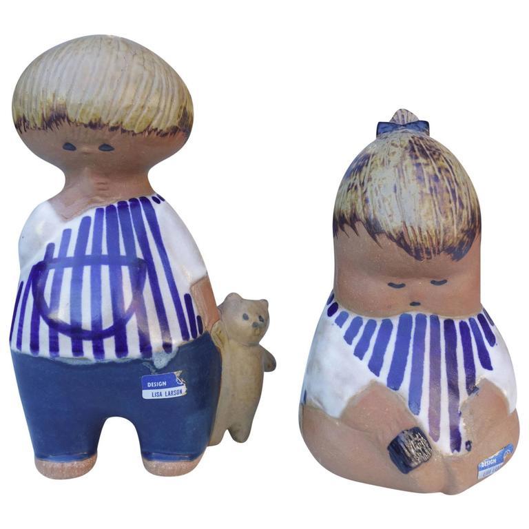 Adorable Mid-Century Ceramic Children by Lisa Larson For Sale