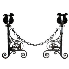 Large Late 19th Century Wrought Andirons