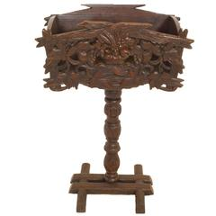 Swiss Chalet Carved Pedestal Planter Box, circa 1910