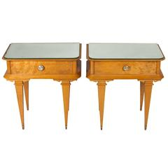 Pair of French 1940s Sycamore End Tables