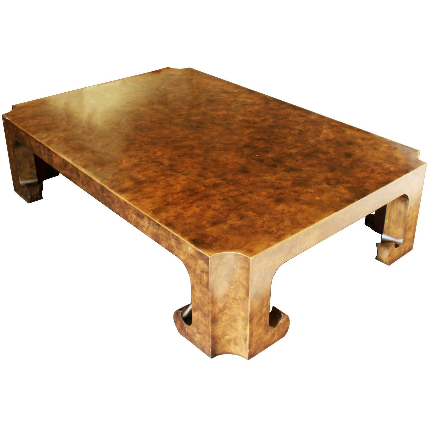 Baker Burl Wood Asian Coffee Table Collector s Edition at 1stdibs