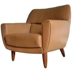 Iconic Tan Colored Leather Lounge Chair by Illum Wikkelsoe