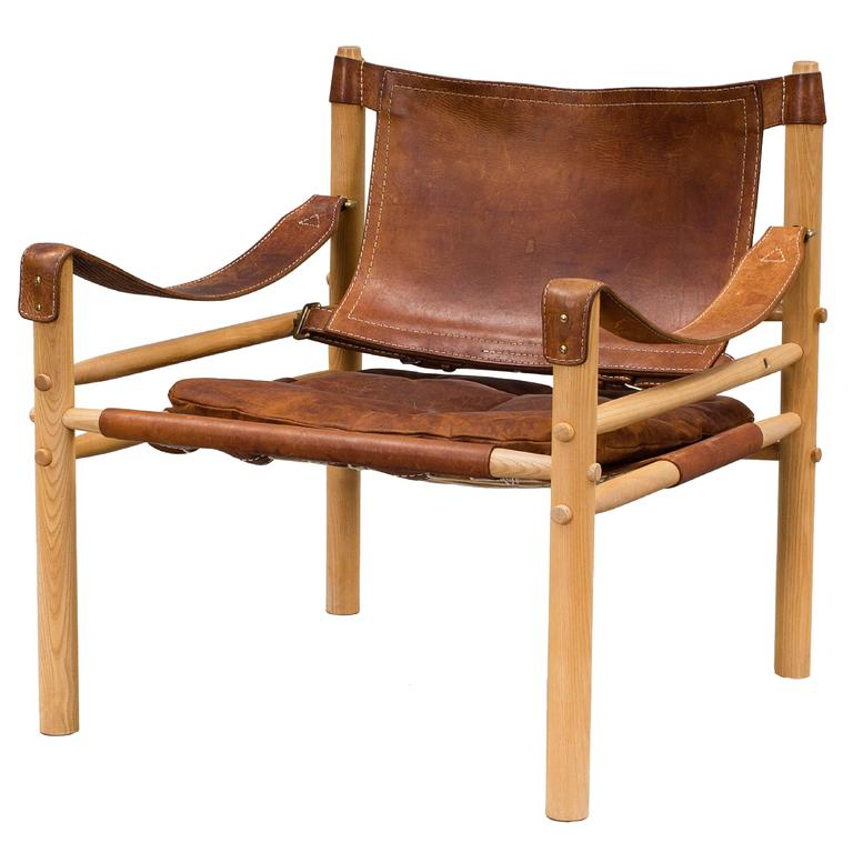 Charmant Arne Norell Safari Sirocco Chair, 1960s, Sweden, Aneby Mobler For Sale