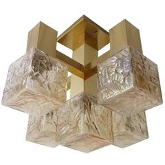 Kalmar Brass & Glass Chandelier, 1960s Pendant Lamp