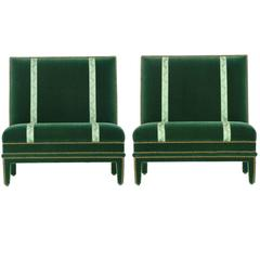 Vintage Pair of Hollywood Regency Studded Green Velvet Armless Chairs