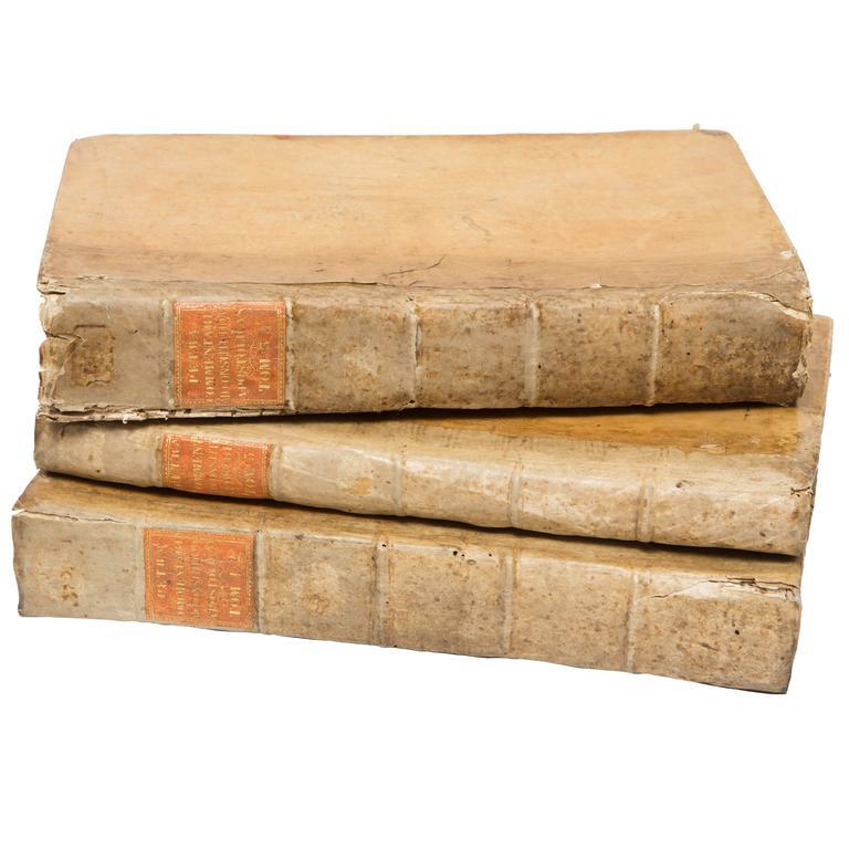 18th Century Vellum Books Set of Three Volumes