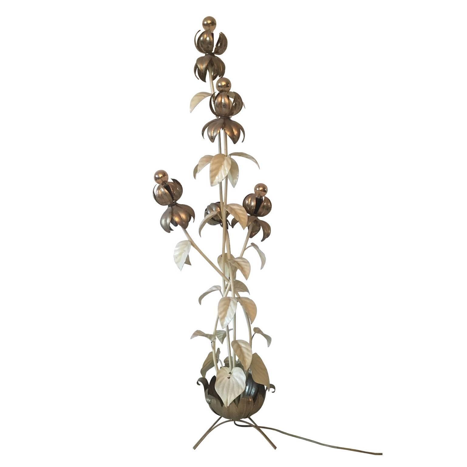 Gilded Large Flower Floor Lamp, in Style of Hans Kogl, 1960s-1970s